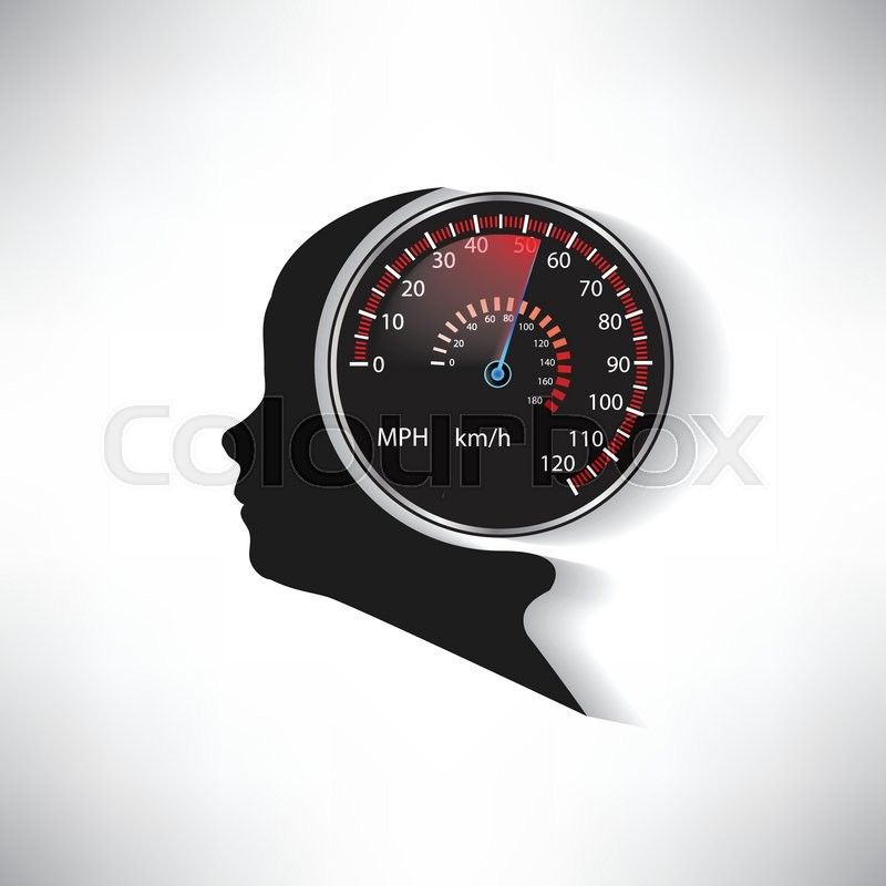 The speed of the human brain compared       Stock vector