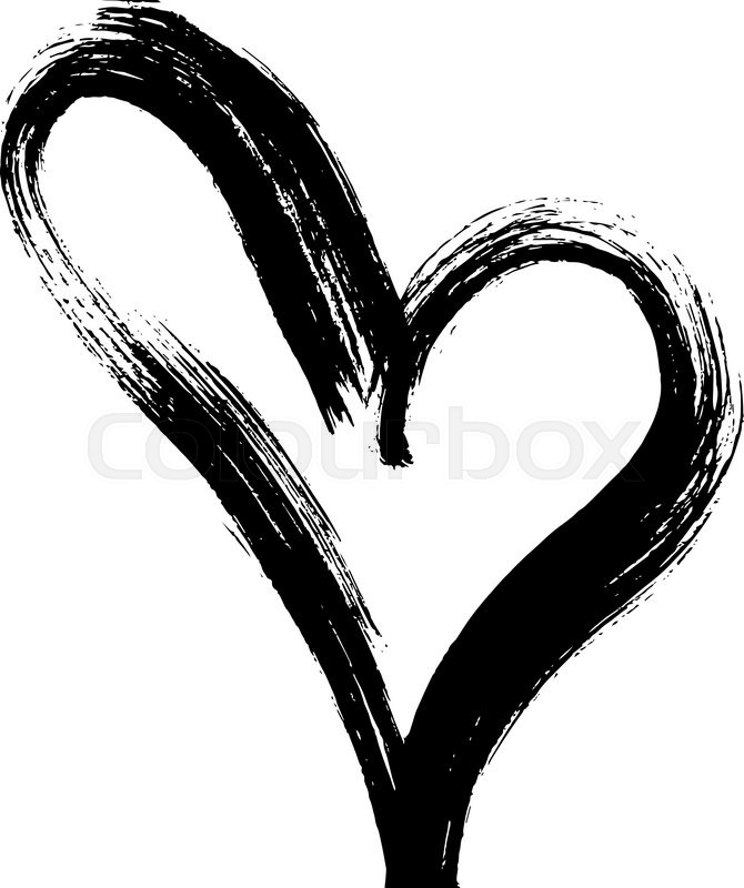 Hand drawn art vector heart ink calligraphy stock