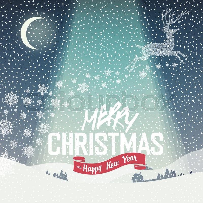 Merry Christmas Card. Calm Winter Scene Illustration. Merry ...