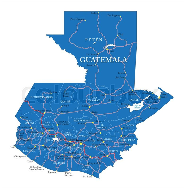 Highly detailed vector map of Guatemala with administrative regions ...