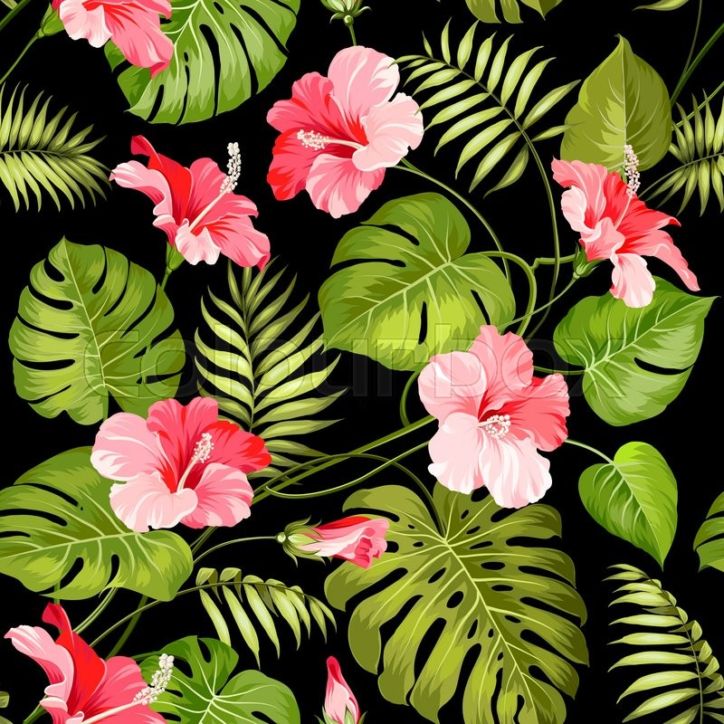 seamless pattern of tropical flowers tropical flower vector springfield mo vector string