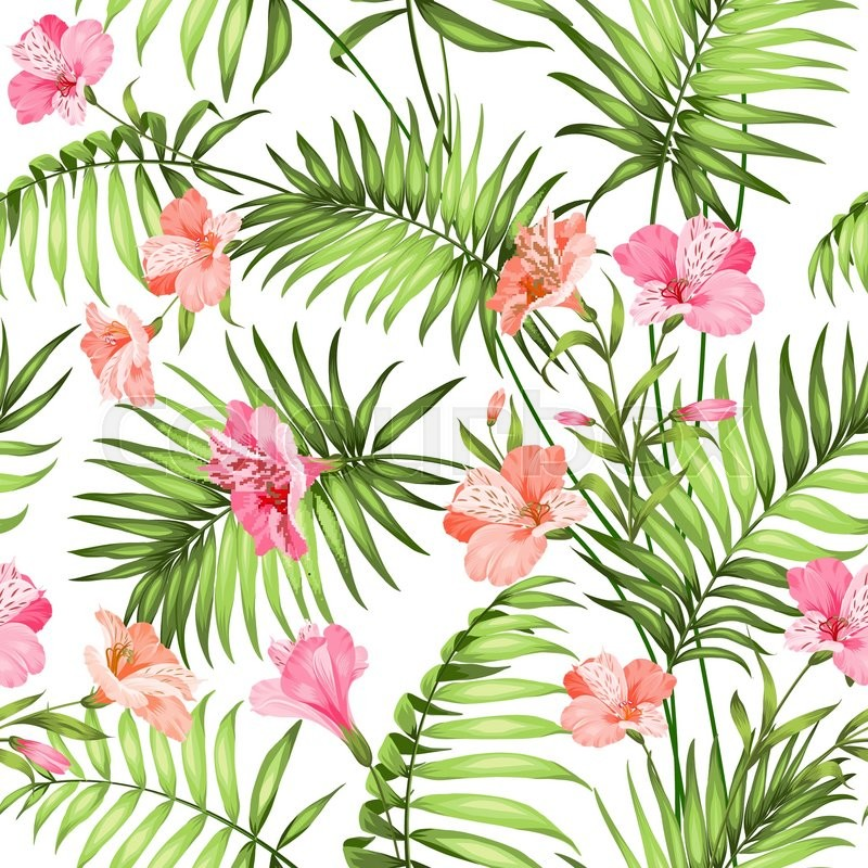 Seamless Tropical Pattern Blossom Flowers For