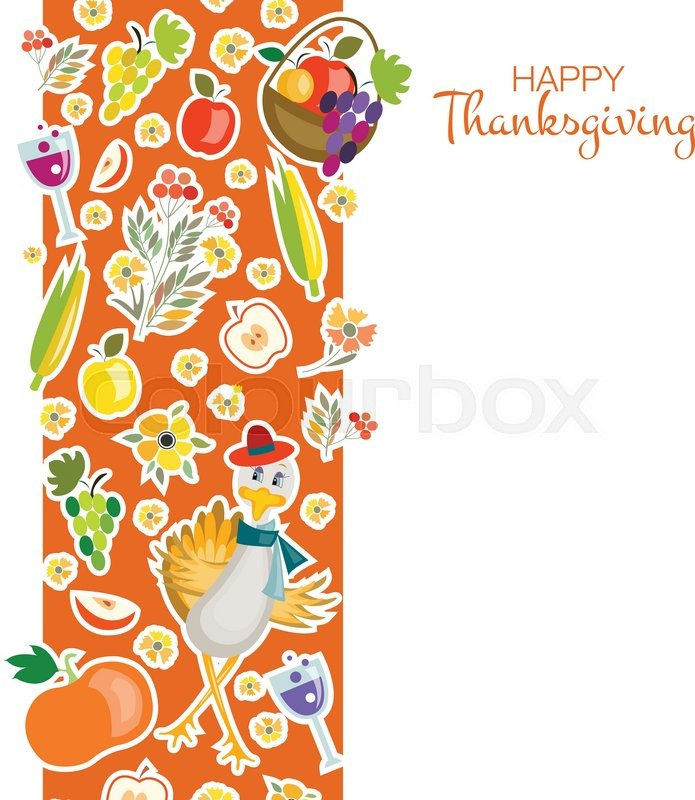 Flat Design Style Happy Thanksgiving Day Background With Hipster - Thanksgiving card template