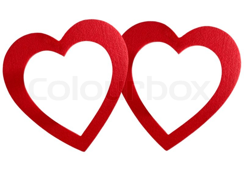 Two bound hearts frame isolated on white background | Stock Photo ...