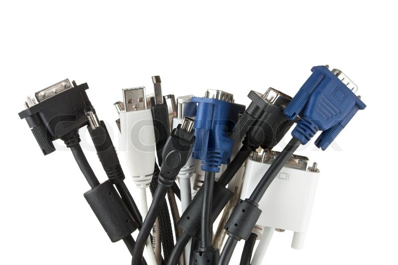 Computer Cables And Connectors Guide : Bunch of computer cables with sockets isolated on a white