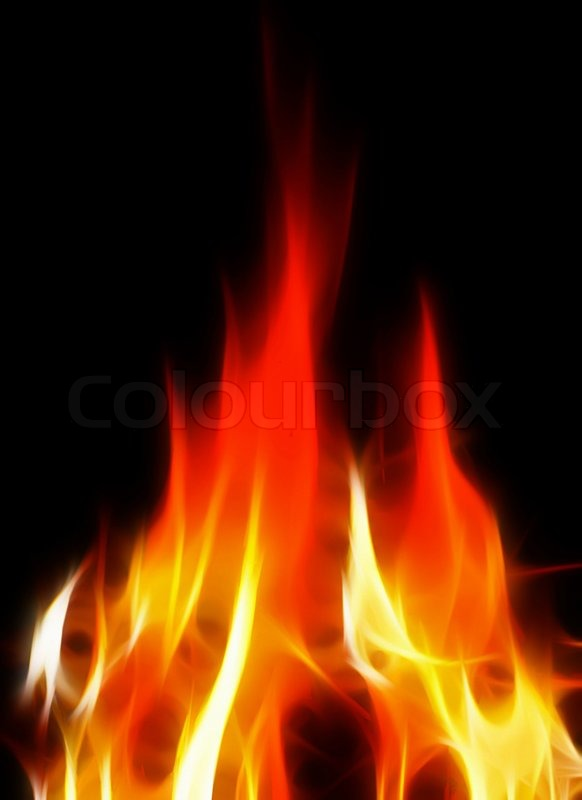 Bright and hot fire on black background | Stock Photo ...