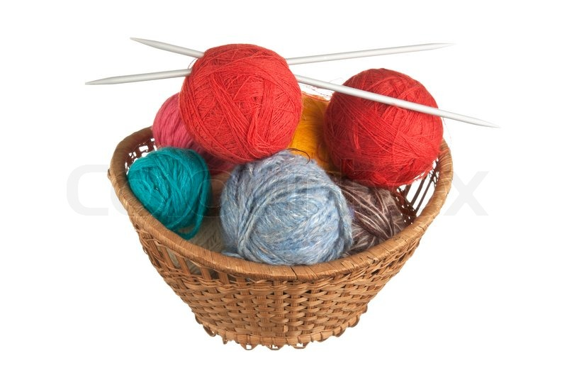 Knitting Needles And Wool : Ball of wool and knitting needles in basket isolated on a