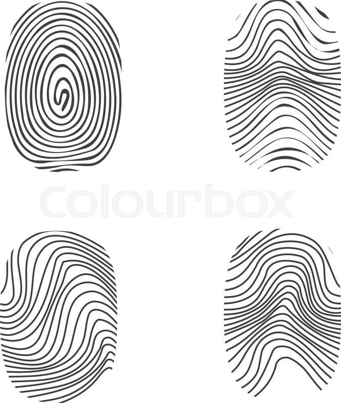 Stock vector of 'fingerprint in black silhouette on white, vector'