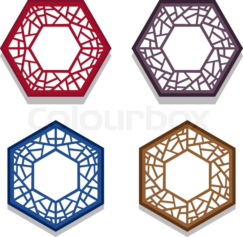 Set of traditional chinese hexagon window frame, coaster paper ...