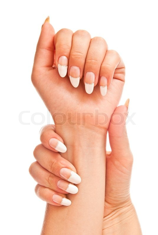 girl s hands with perfect nail manicure isolated on white stock