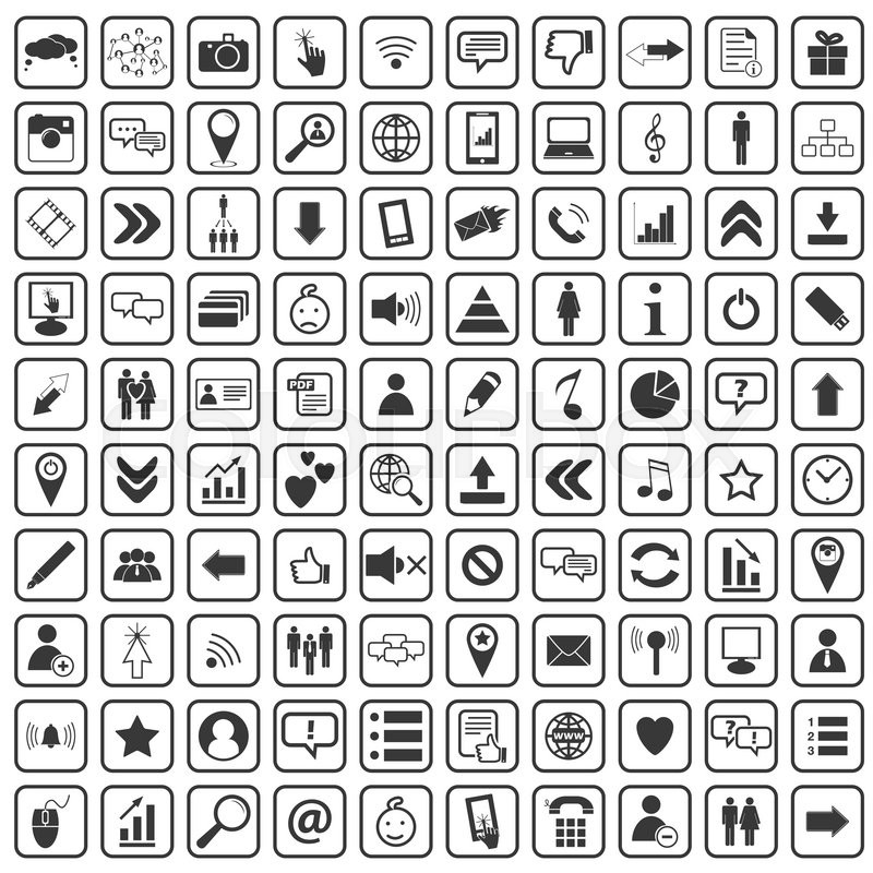 100 Social Media Icons Set Simple Black Images On White Background