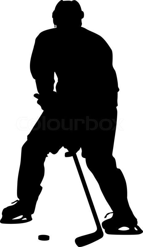 silhouette of hockey player  isolated on white  vector illustrations