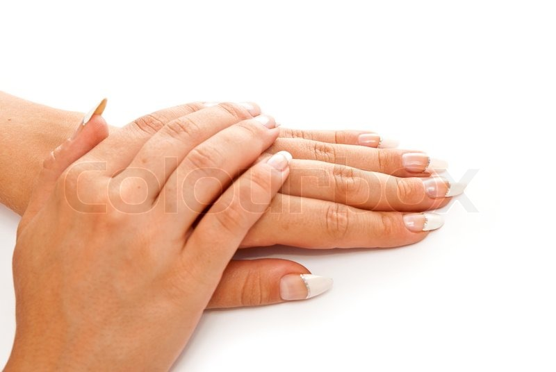 girl s hands with perfect nail manicure on white background stock