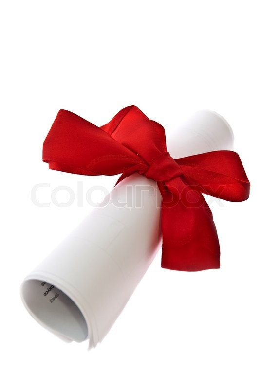 certificate with a red ribbon isolated on a white background stock