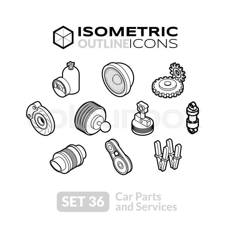 isometric outline t icons 3d pictograms vector set 36 car parts and services symbol. Black Bedroom Furniture Sets. Home Design Ideas