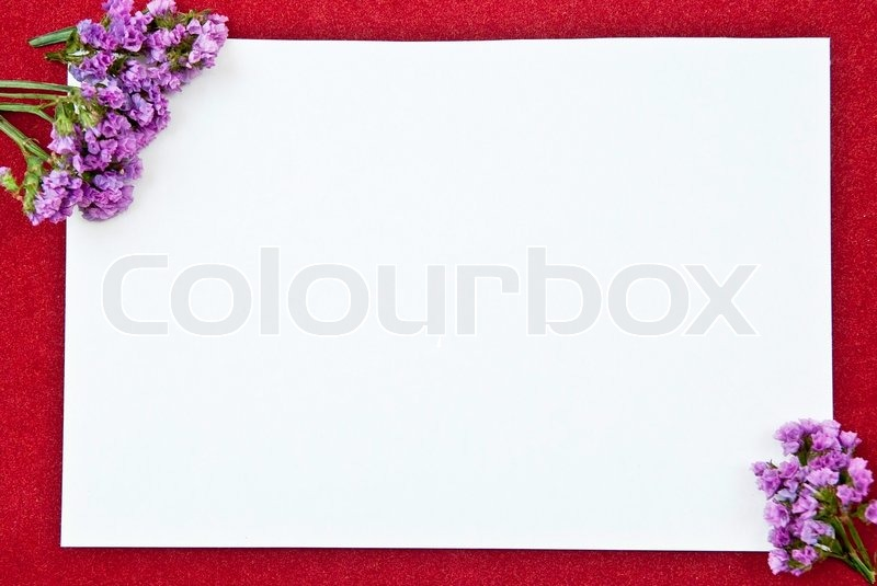 White paper blank on red with flowers     | Stock image