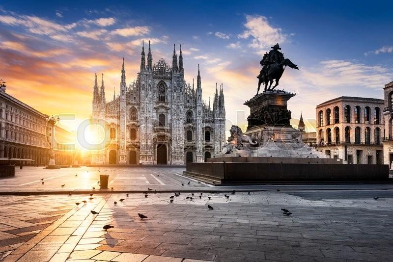 Duomo at sunrise, Milan, Europe, stock photo
