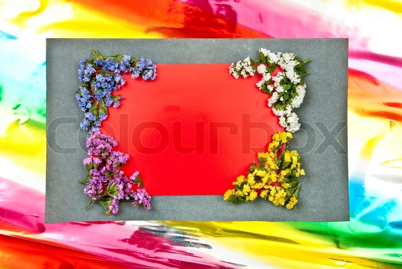 Red paper blank on grey and colored background flowers design red paper blank on grey and colored background flowers design stock photo mightylinksfo Gallery