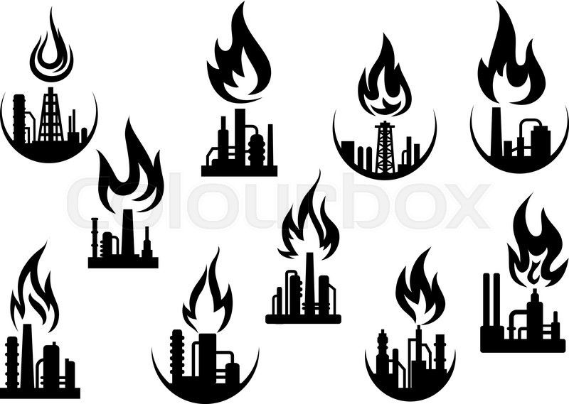 Petroleum Refinery And Chemical Industrial Plant Icons Set With