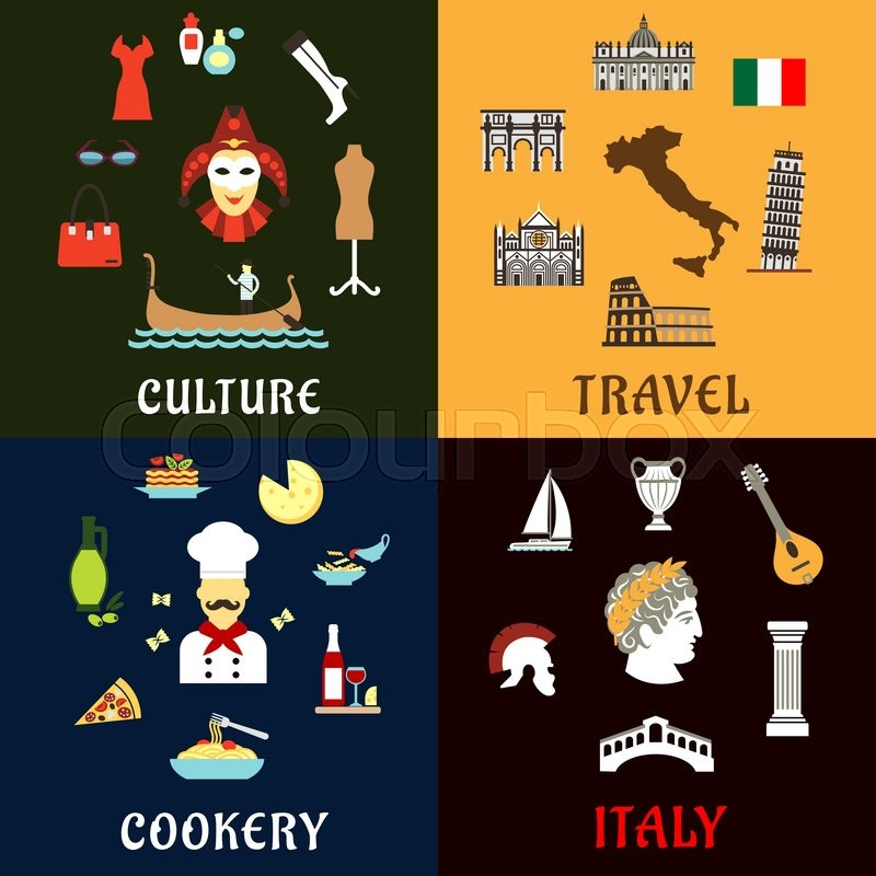Italy Travel Concept With Traditional Symbols Of Italian