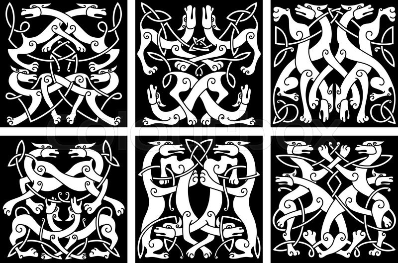 Celtic Animal Knot Patterns With Playing Wolves Or Dogs Decorated
