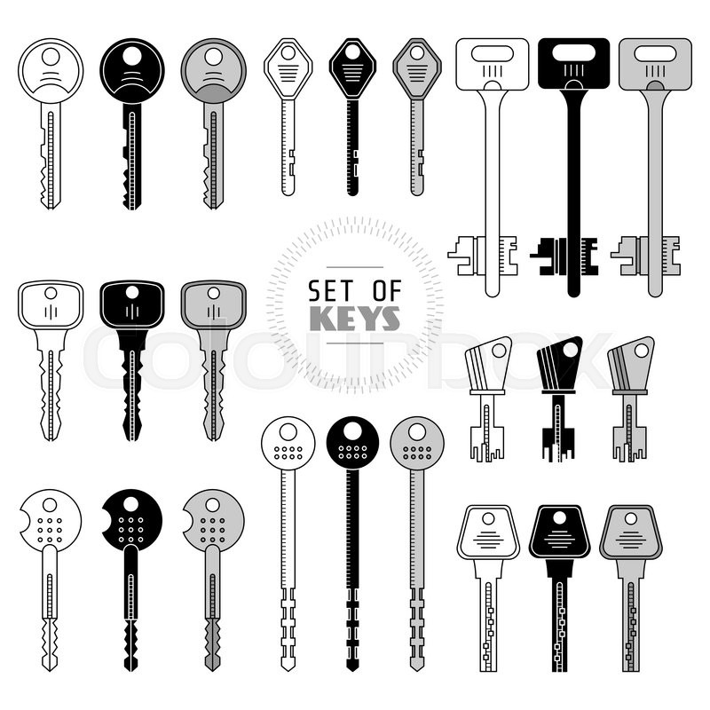 Set Of Keys Modern Types Keys Stock Vector Colourbox