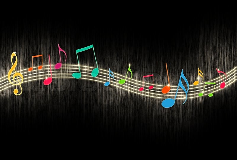 Stock image of 'Music Notes on Black Background'