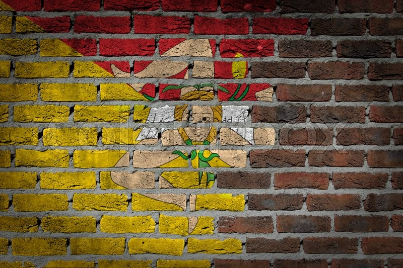 Dark brick wall texture - flag painted on wall - Sicily, stock photo