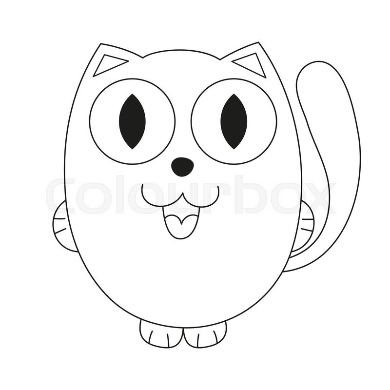 Cute Cartoon Kitty Vector Illustration Of Funny Fatty Cat Coloring Book Page For Children