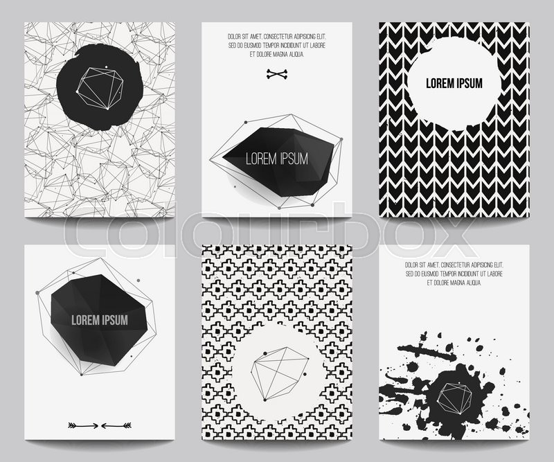 Vector set of modern posters with geometrical shapes and splashes trendy hipster style for flyers banners invitations business contemporary design