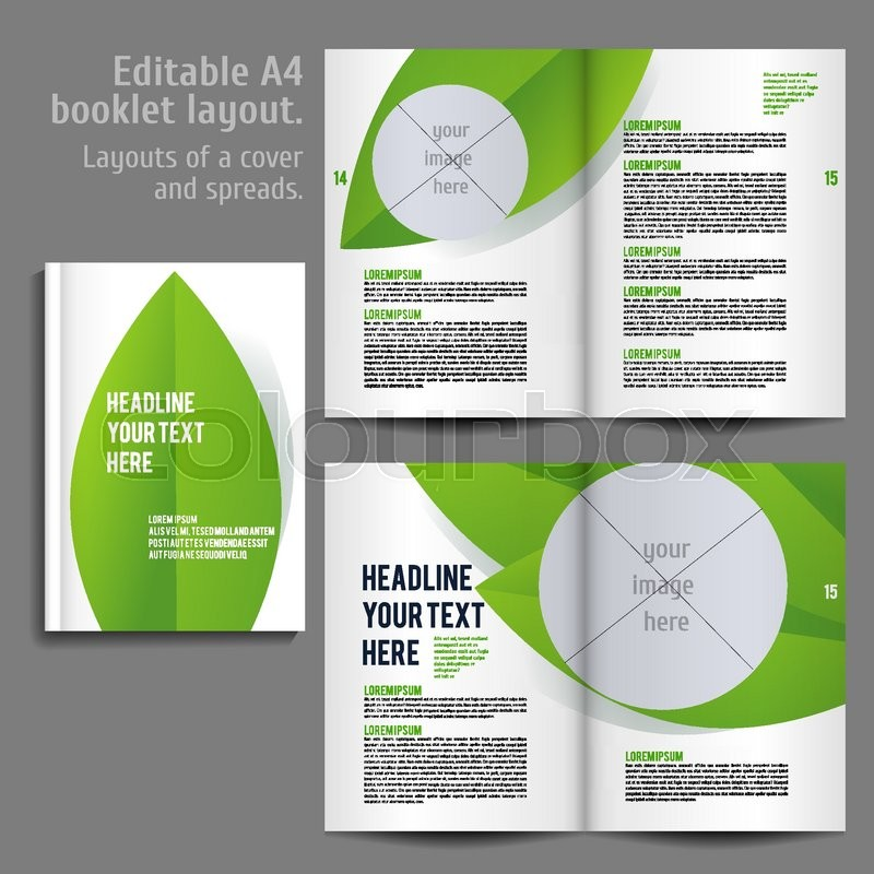 a4 book layout design template with cover and 2 spreads of