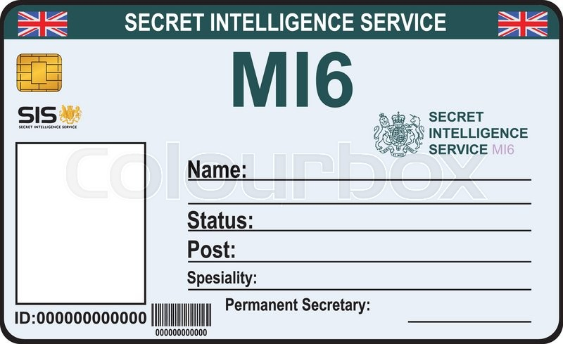 spy id card template - the identity a secret agent of mi 6 certification secret