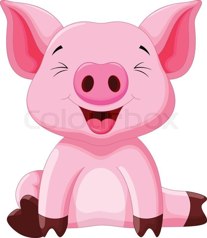 Vector illustration of cute pig cartoon isolated on white - Pig wallpaper cartoon pig ...