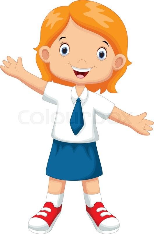 vector illustration of cute girl in a school uniform stock vector rh colourbox com a schoolboy in uniform - clipart red school uniform clipart