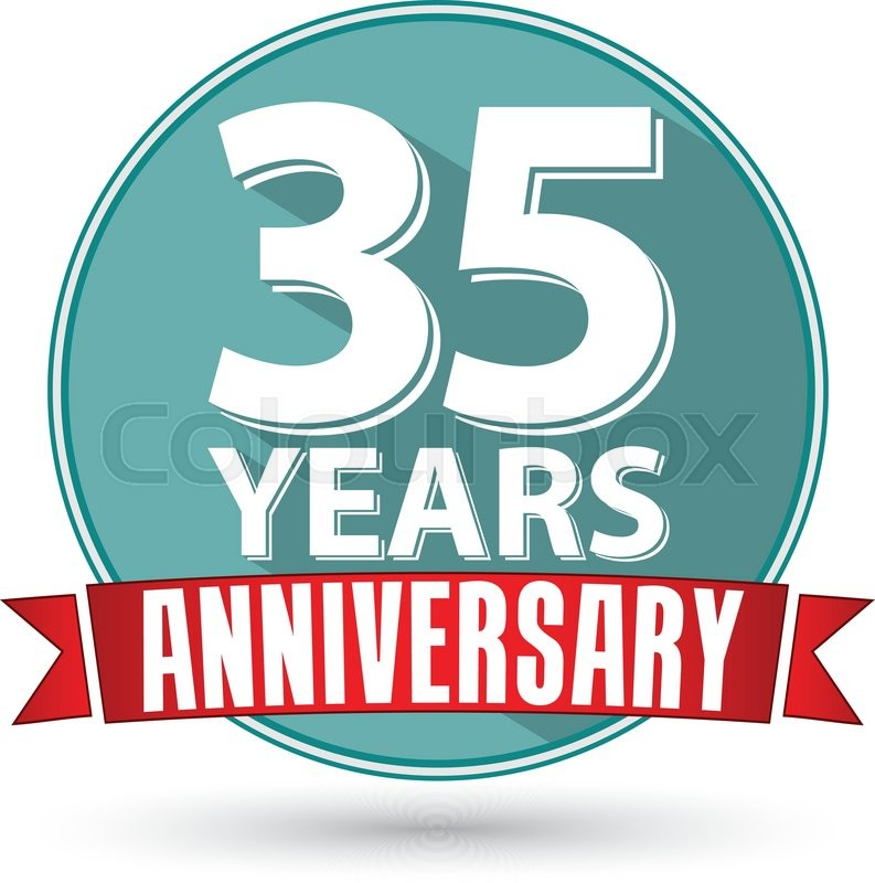 Flat Design 35 Years Anniversary Label With Red Ribbon Vector