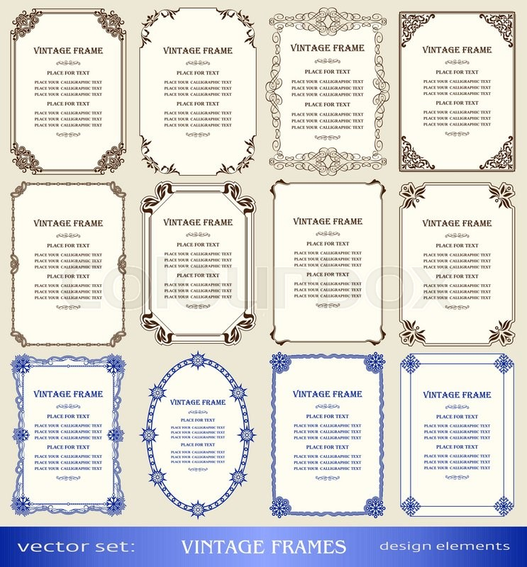 vintage frames and borders set book covers and pages christmas and new year decorations calligraphic ornamental photo and text frames creative design
