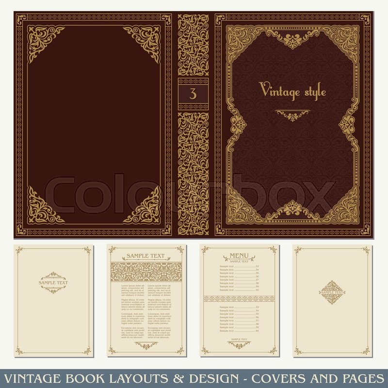 Old Book Cover Vector : Vintage book layouts and design covers pages