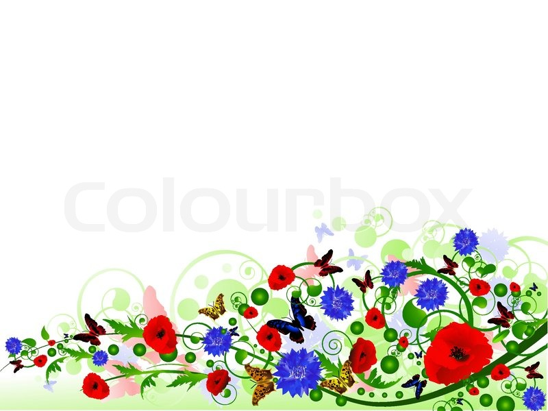 Illustration of horizontal floral multicolored summer frame with ...