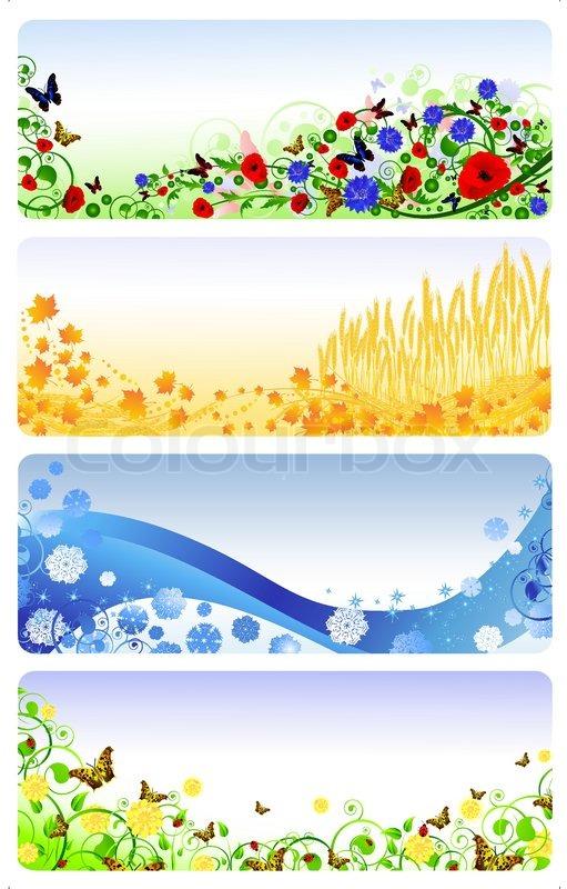 Illustration Of Four Seasons Banners Summer Autumn