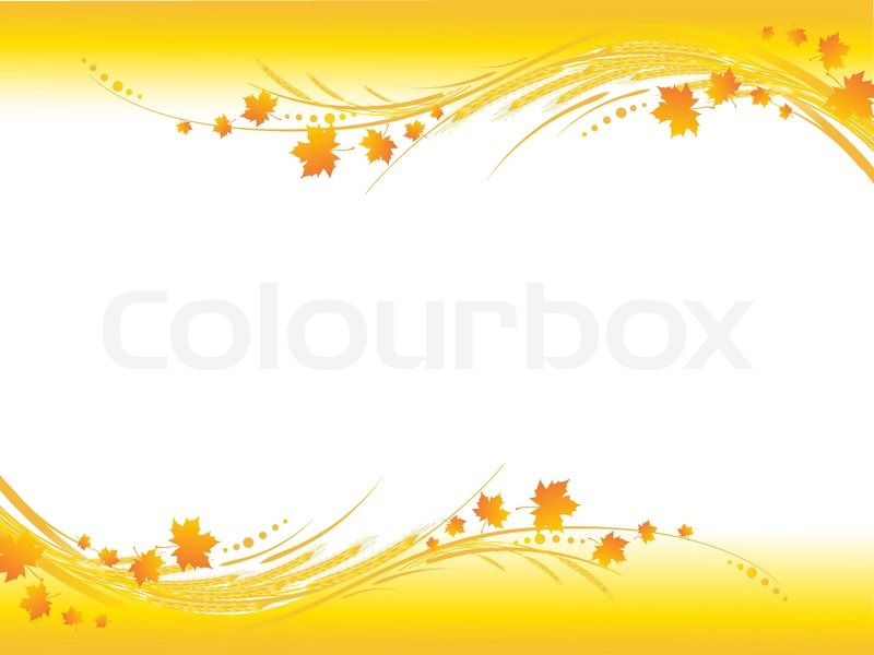illustration of horizontal yellow autumn frame maple leaves and cereals stems with copy space for your text stock vector colourbox - Yellow Frame