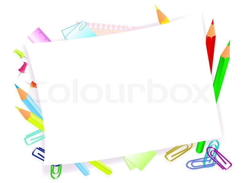 School supplies with frame for tour text | Stock Vector | Colourbox