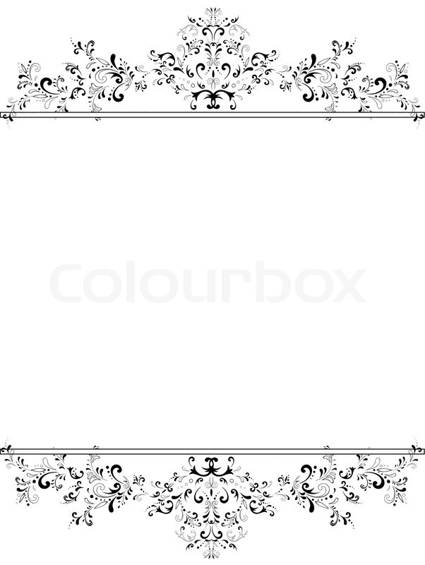 Illustration Of Vertical Vintage Floral Frame In Black And White With Copyspace For Your Text