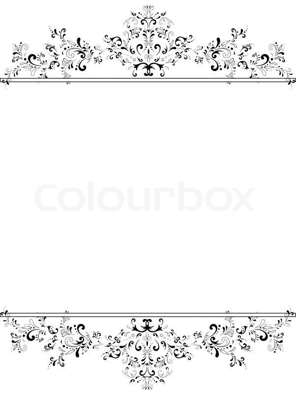 darstellung der vertikalen vintage floral frame in schwarz. Black Bedroom Furniture Sets. Home Design Ideas