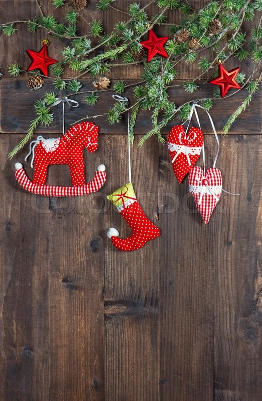 Christmas Decoration Textile Handmade Toys Over Rustic Wooden Background Nostalgic Picture With Retro Style Design Cross Processing Stock Photo