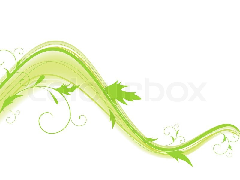 Abstract wave with foliage and swirls in green against ... Green And White Swirl Backgrounds