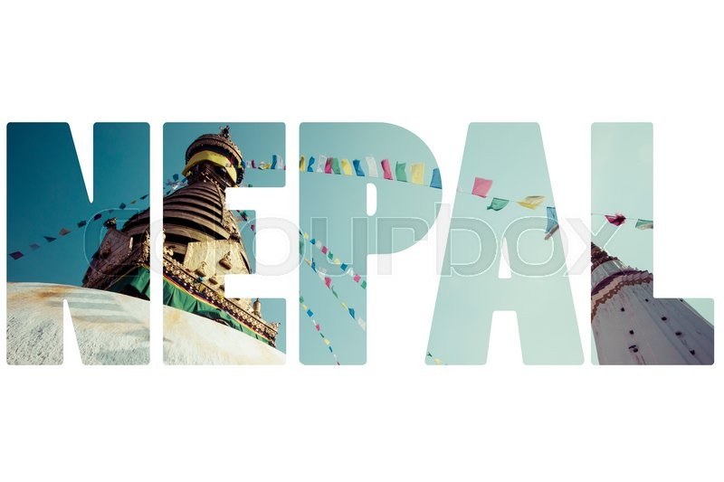 Word Nepal Over National Symbols Stock Photo Colourbox