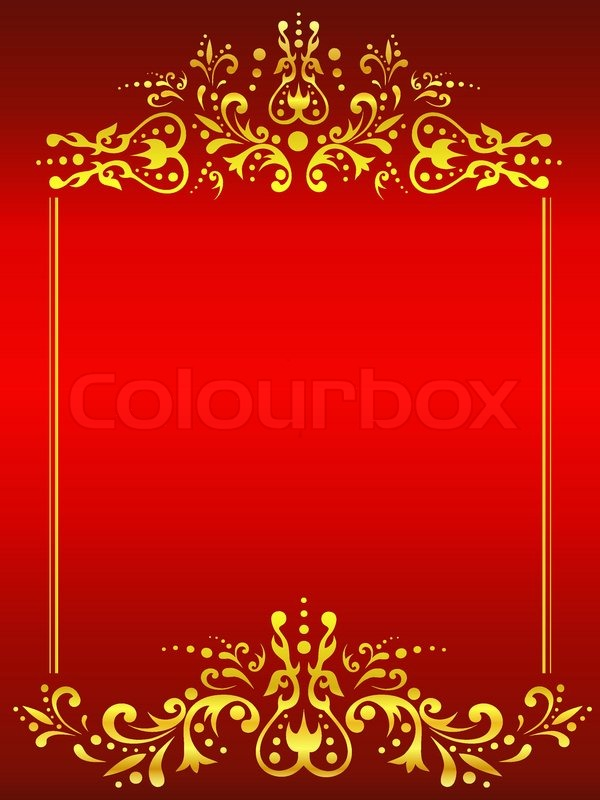 Illustration Of Golden Vintage Frame Against Red