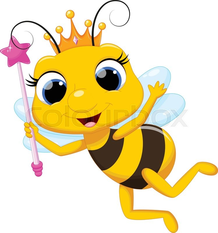 Vector illustration of cute queen bee cartoon isolated on ...
