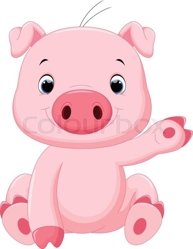 Vector illustration of cute baby pig cartoon isolated on - Pig wallpaper cartoon pig ...