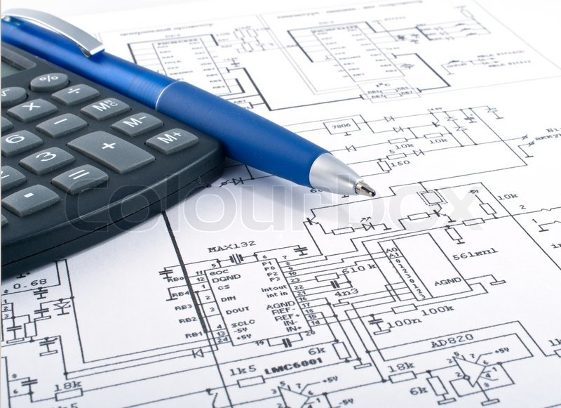 Calculator and pen on electrical diagram stock photo colourbox ccuart Image collections